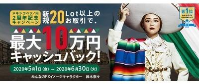 トレイダーズ証券株式会社の「みんなのFX」が、メキシコペソ/円2周年記念キャンペーンを実施