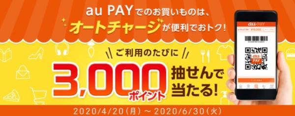 au PAY×auじぶん銀行 ~ auじぶん銀行でau PAY残高へのオートチャージで 3,000ポイントプレゼント「生活応援企画」