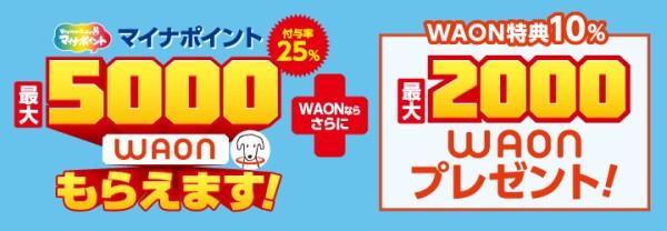 イオンカードのマイナポイントWAON上乗せキャンペーン7月24日受付開始、還元率35%、最大7,000円相当