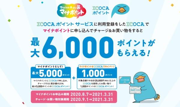 ICOCAマイナポイントの申込み、予約、登録、特典、特設、最大6,000円還元の仕組み